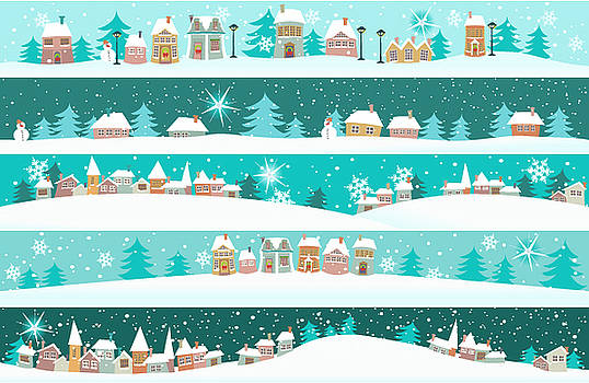 Winter Banners With Cartoon Houses by Jagoda
