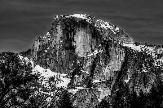 Winter Half Dome In Black And White by Garry Gay