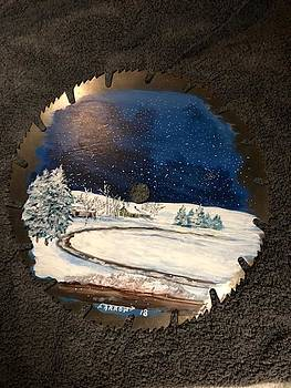 Winter Scene on Saw Blade by Dave Farrow