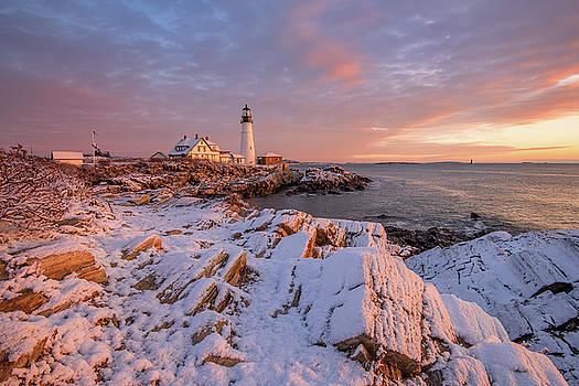 Winter Sunrise at Portland Head Light by Jesse MacDonald