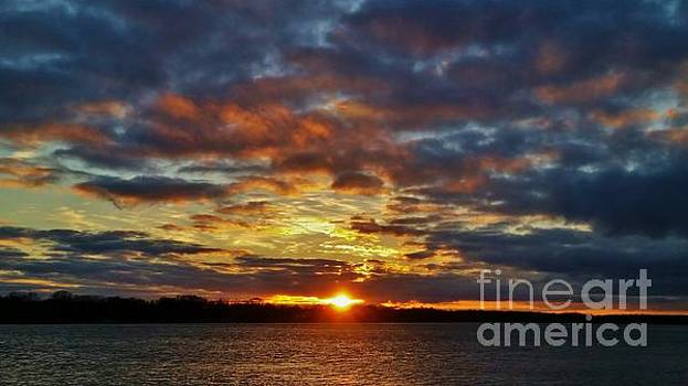 Winter Sunset over Grand Island by Tony Lee
