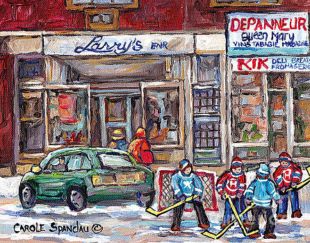 Winterscene Hockey Game Queen Mary Road Snowdon Montreal Storefront Larry's Shoes C Spandau Artist by Carole Spandau