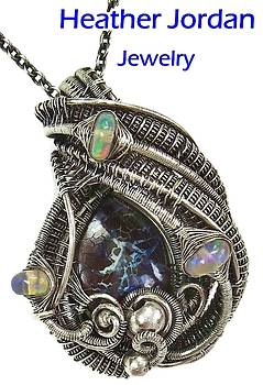 Wire-Wrapped Koroit Boulder Opal Pendant in Antiqued Sterling Silver with Ethiopian Welo Opals by Heather Jordan