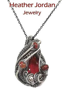 Wire-Wrapped Mexican Fire Opal Pendant in Antiqued Sterling Silver with Ethiopian Welo Opals by Heather Jordan
