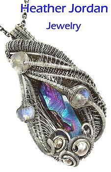 Wire-Wrapped Sunshine Titanium Quartz Crystal Pendant in Sterling Silver with Rainbow Moonstone by Heather Jordan