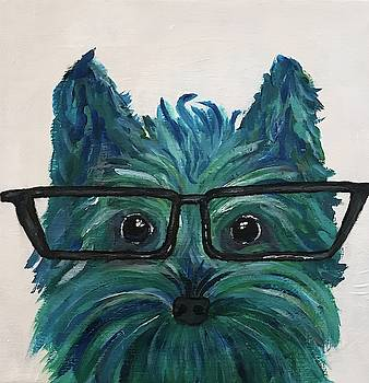 Wise Puppy with Glasses Abstract Pop Art Blue Dob by Brenda Boss