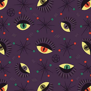Witch Eyes Spooky Retro Pattern by Boriana Giormova
