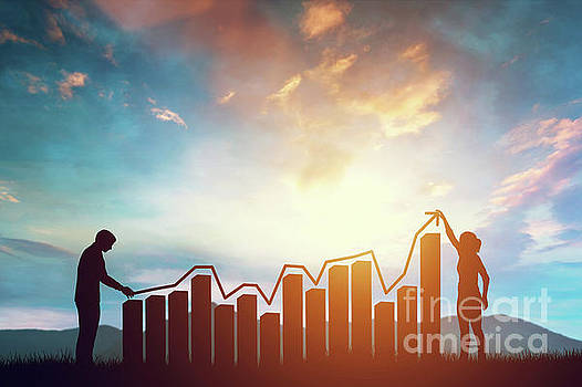Woman and man holding a rising arrow symbolizing growth on the chart. by Michal Bednarek