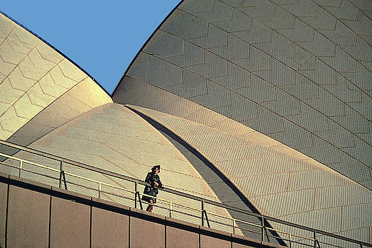 Woman at Sidney Opera House by Carl Purcell
