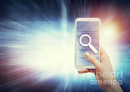 Woman holding smartphone with magnifier icon. by Michal Bednarek