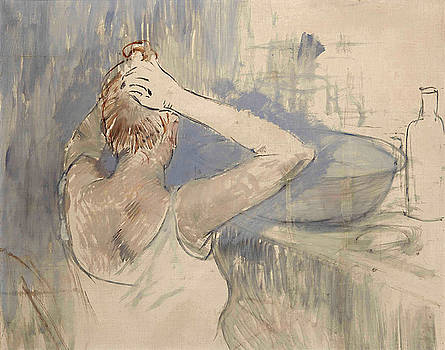 Woman washing her hair by Jean-Louis Forain