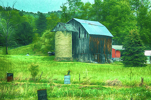 Wood barn and silo by Alan Goldberg