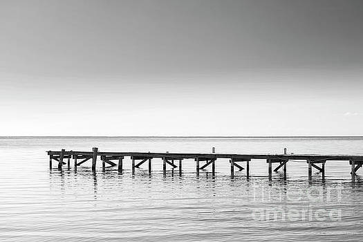 Tim Hester - Wooden Dock As Minimalism Background Black and White