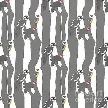 Woodpecker Seamless Pattern by Priscilla Wolfe