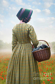 Working Class Victorian Woman With Bonnet And Basket by Lee Avison