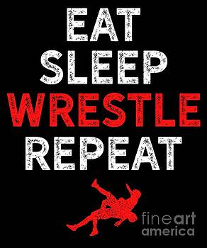 Wrestling Eat Sleep Wrestle Silhouette Red Gift Light by J P
