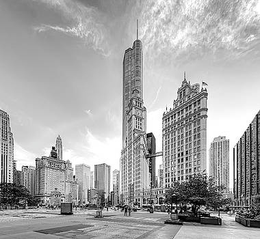 WRIGLEY BLDG and TRUMP TOWER from PIONEER COURT - CHICAGO by Daniel Hagerman