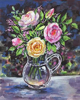 Irina Sztukowski - Yellow And Pink Roses Bouquet Floral Impressionism