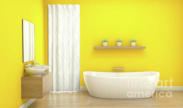 Yellow Bathroom Interior by Allan Swart