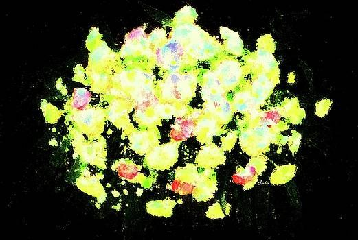 Yellow Floral Arrangement on Black Background by Barbie Corbett-Newmin