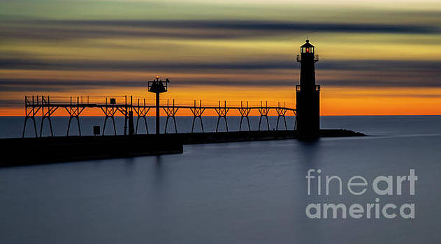 Yellow Sunrises with Lighthouse by Randy Kostichka