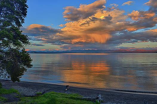 Yellowstone Lake Sunset by Greg Norrell