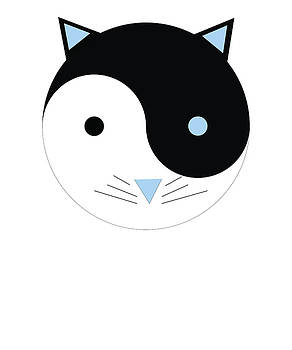 YinYang Kitty in blue Cute Meditation Yoga Design  by Swigalicious Art