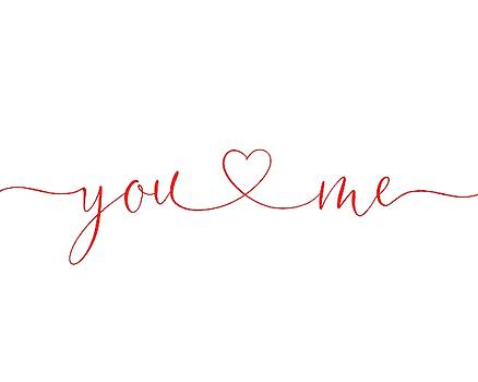 You And Me Red on White by Terry DeLuco