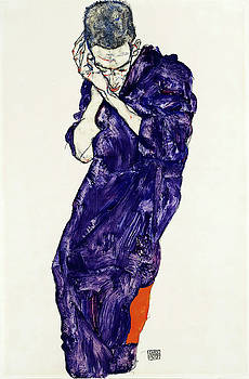 Young Man In Purple Robe With Clasped Hands by Egon Schiele