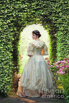 Young Victorian Woman In The Garden by Lee Avison