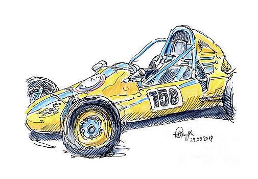 Frank Ramspott - Zink Formel Vau Classic Racecar Ink Drawing and Watercolor