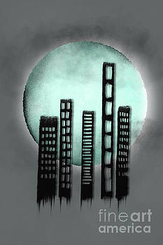 Benjamin Harte - Zombie town against a blue moon