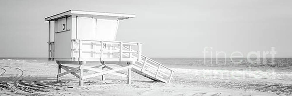 Paul Velgos - Zuma Beach Malibu Lifeguard Tower #3 Black and White Panorama