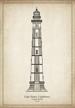 JESP Art and Decor - Cape Henry Lighthouse - Virginia - blueprint drawing
