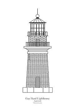 JESP Art and Decor - Gay Head Lighthouse - Massachusetts - blueprint drawing
