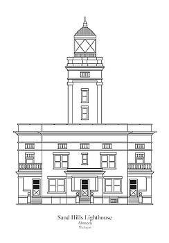 JESP Art and Decor - Sand Hills Lighthouse - Michigan - blueprint drawing