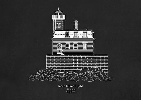 JESP Art and Decor - Rose Island Lighthouse - Rhode Island - blueprint drawing