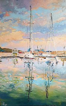 Vali Irina Ciobanu - Balchik reflexion seascape oil on canvas by Vali Irina Ciobanu