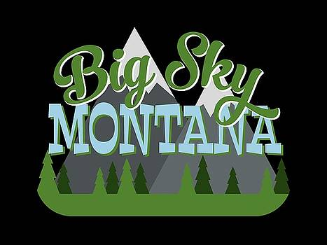 Flo Karp - Big Sky Montana Retro Mountains Trees