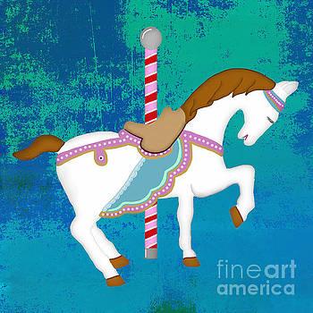 Priscilla Wolfe - Carousel Horse Blue Green