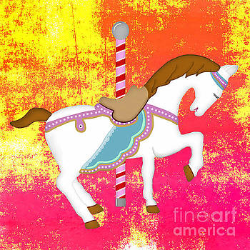 Priscilla Wolfe - Carousel Horse Pink Yellow