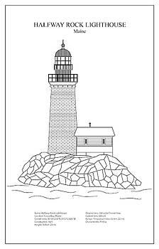JESP Art and Decor - Halfway Rock Lighthouse - Maine - blueprint drawing