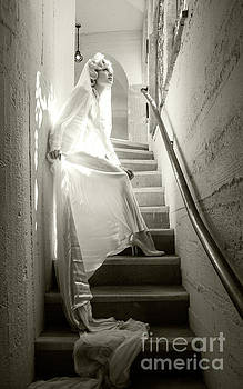 Sad Hill - Bizarre Los Angeles Archive - Haunted by History - Mission Inn - Bride on Stairs - sepia