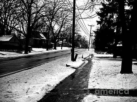 Frank J Casella - Melting Snow Down the Street - Black and White