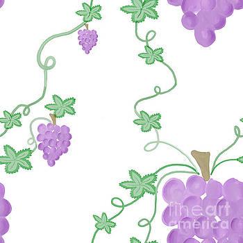Priscilla Wolfe - Watercolor Grapevine Repeating Pattern