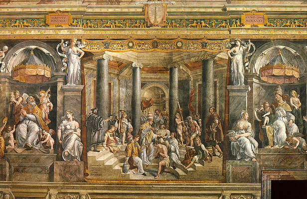 Baptism of Constantine. Print by Raphael