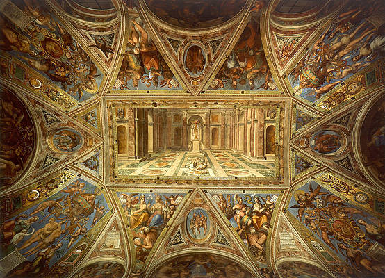 Ceiling of the Room of Constantine. Triumph of Christian Religion Print by Raphael