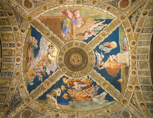 Ceiling of the Stanza di Eliodoro. Print by Raphael