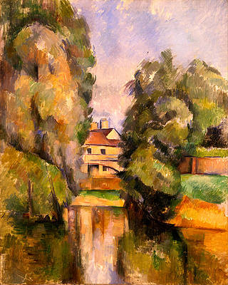 Country House by a River Print by Paul Cezanne