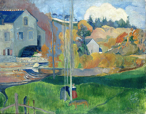 Landscape in Brittany. The David Mill Print by Paul Gauguin